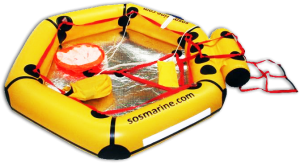 shows life raft with thermal floor and survival items