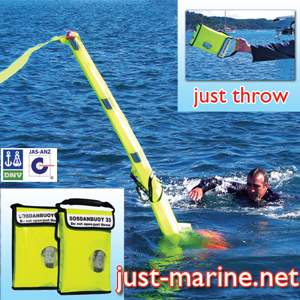 An improvement over the man overboard pole, the inflatable dan buoy