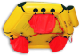 shows ballast pockets on bottom of life raft