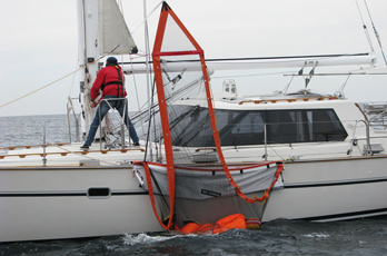 Sea Scoopa is used to parbuckle overboard crew back aboard