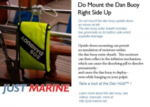 dan buoy must be mounted right side up