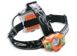 Low power flood light LED headlamp