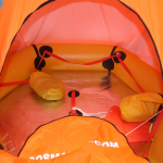 interior view of coastal life raft with canopy