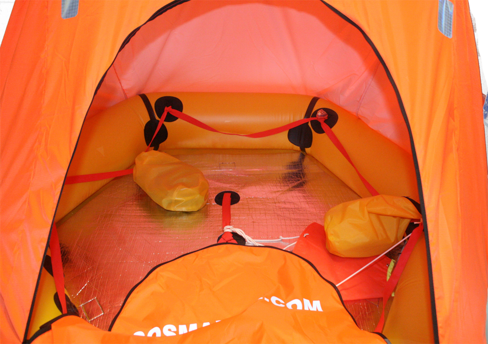 interior view of coastal life raft with canopy interior view of coastal life raft with canopy - Orange Canopy Interior