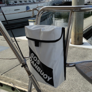 dan buoy bag holder mounted aft, near helm