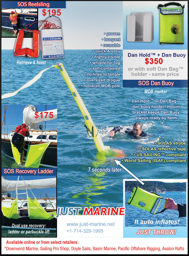 image of Just Marine ad on back cover of cruising lifestyle newsletter