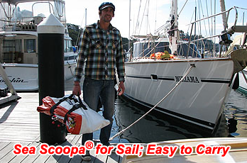 easy to carry man overboard retrieval device for sailing yachts