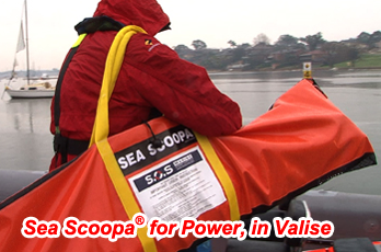 Sea Scoopa for power and rescue craft is easily transported in valise