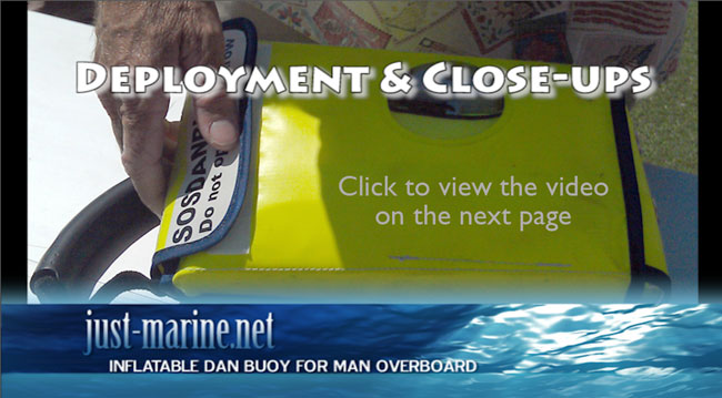 Inflatable man overboard dan buoy deployment demo