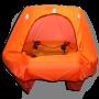 coastal life raft with canopy door open