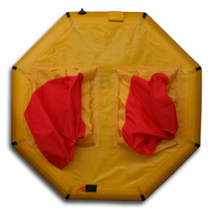 bottom of Revere coastal life raft showing ballast pockets